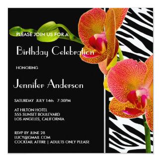 Elegantes Orchideenzebra-Druck-Geburtstags-Party Quadratische 13,3 Cm Einladungskarte