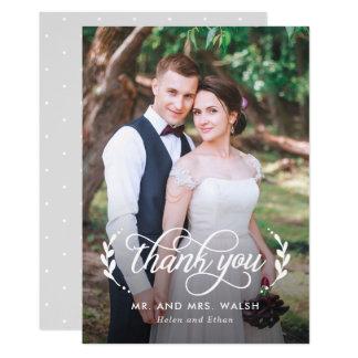 Elegantes Paar-Hochzeits-Foto danken Ihnen zu Karte