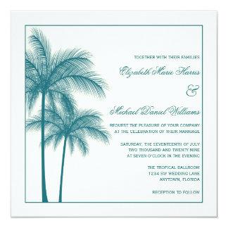 Elegantes Palmen aquamarines Ecru Quadrat Quadratische 13,3 Cm Einladungskarte