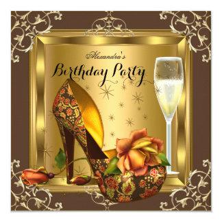 Elegantes Party GoldRosen-hoher Heels-Champagne Quadratische 13,3 Cm Einladungskarte