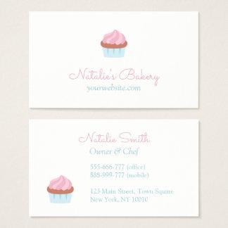 Elegantes Pastellrosa-Kuchen-Bäckerei-Café Visitenkarte