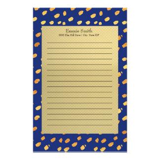 Elegantes personalisiertes Blau und Gold Briefpapier
