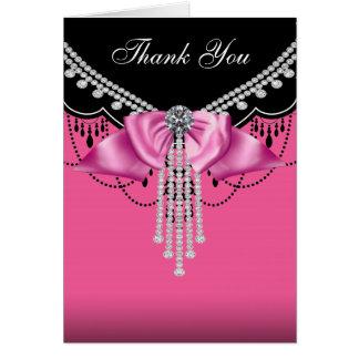 Elegantes Pink und Schwarzes danken Ihnen Karten