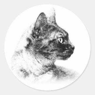 Elegantes Profil von Stella die graue Katze Runder Aufkleber