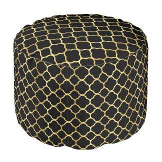 Elegantes Quatrefoil Gold u. schwarzes Muster Hocker