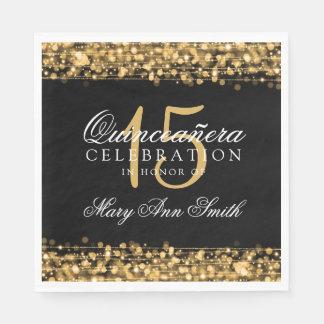 Elegantes Quinceanera Party-Glitzern-Gold Serviette