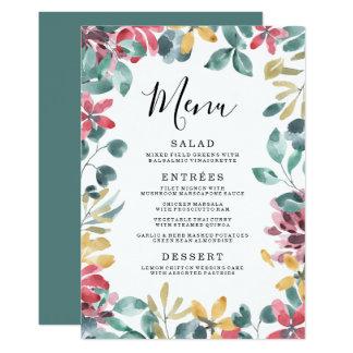 Elegantes rahmen-Hochzeits-Menü der Blüten-  Karte