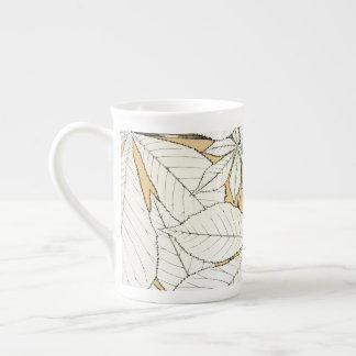 Elegantes Retro Blatt-Muster Porzellantasse