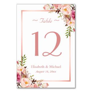 Elegantes rosa BlumenRosen-GoldWedding Tischnummer