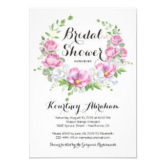 Elegantes rosa Blumenwatercolor-Brautparty Karte