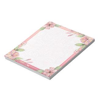 Elegantes rosa reizendes Aquarell-Blumennotizblock Notizblock