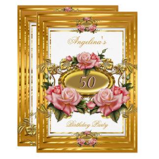 Elegantes rosa Rosen-Goldweißes Karte