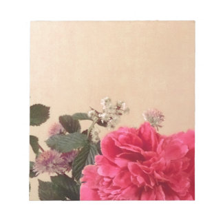 Elegantes rosa Sahneblumen Notizblock
