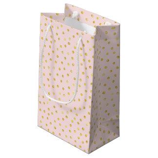 Elegantes Rosa-und Goldfolieconfetti-Punkt-Muster Kleine Geschenktüte