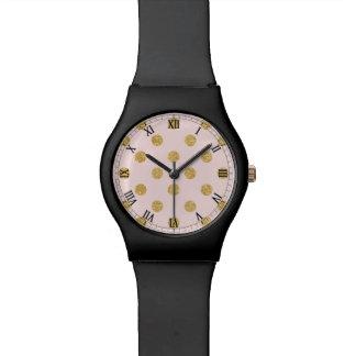 Elegantes Rosa-und GoldGlitter-Polka-Punkt-Muster Armbanduhr