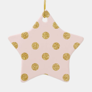 Elegantes Rosa-und GoldGlitter-Polka-Punkt-Muster Keramik Ornament