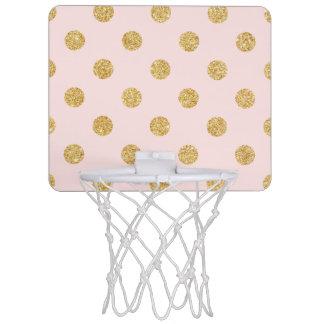 Elegantes Rosa-und GoldGlitter-Polka-Punkt-Muster Mini Basketball Ring