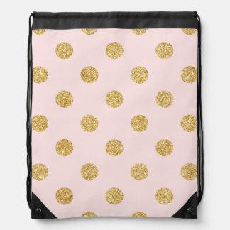 Elegantes Rosa-und GoldGlitter-Polka-Punkt-Muster Sportbeutel