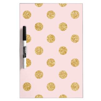 Elegantes Rosa-und GoldGlitter-Polka-Punkt-Muster Trockenlöschtafel