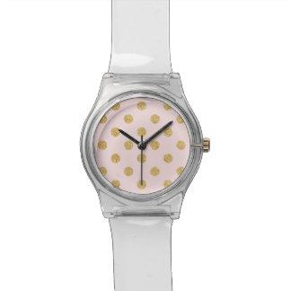 Elegantes Rosa-und GoldGlitter-Polka-Punkt-Muster Uhr