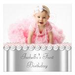 Elegantes rosa und graues Foto-Geburtstags-Party Individuelle Einladung