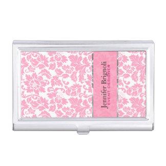 Elegantes rosa und weißes Blumendamast-Muster Visitenkarten Etui