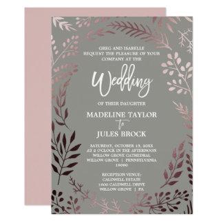 Elegantes Rosen-Gold und formale Hochzeit des Karte