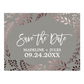 Elegantes Rosen-Gold und graues Wedding Save the Postkarte