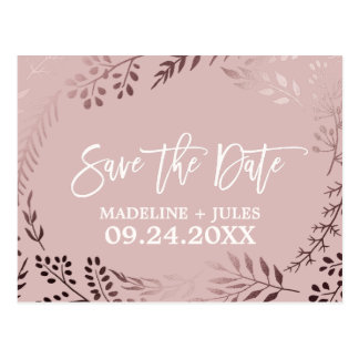 Elegantes Rosen-Gold und rosa Wedding Save the Postkarte