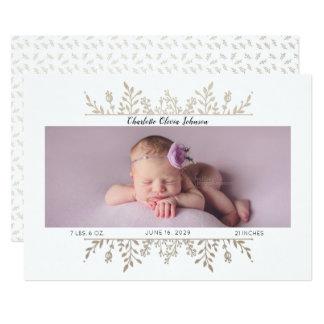 Elegantes Rosen-Goldweiße Foto-Geburts-Mitteilung Karte