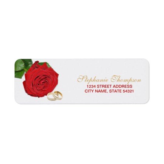 Elegantes Rosen-Hochzeits-Adressen-Etikett