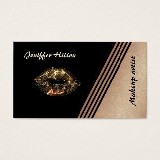 Elegantes Rosengold stripes metallische Lippen Visitenkarte