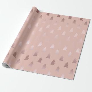 Elegantes Rosengold und rosa Weihnachtsbaummuster Geschenkpapier