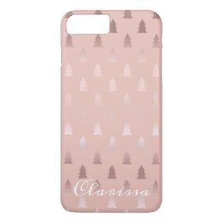 Elegantes Rosengold und rosa Weihnachtsbaummuster iPhone 8 Plus/7 Plus Hülle