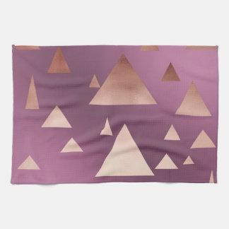 elegantes Rosengoldgeometrisches Dreieckmuster Handtuch