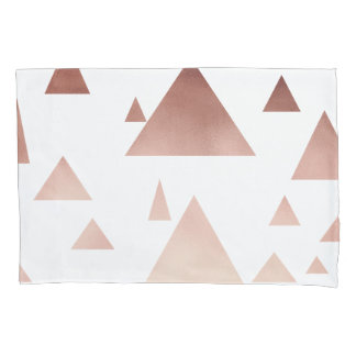 elegantes Rosengoldgeometrisches Dreieckmuster Kissenbezug