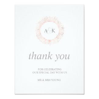 Elegantes Rosengoldmonogramm danken Ihnen - Ebene Karte