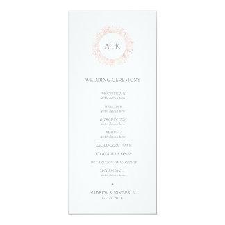 Elegantes Rosengoldmonogramm-Hochzeitsprogramm Karte