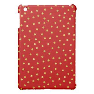 Elegantes Rot-und Goldfolieconfetti-Punkt-Muster iPad Mini Hülle