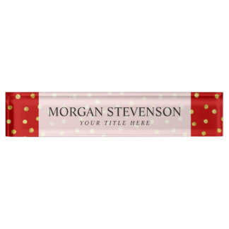 Elegantes Rot-und Goldfolieconfetti-Punkt-Muster Schreibtischplakette