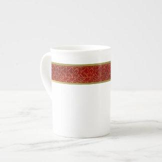 Elegantes Rot und Goldknochen-China-Tasse Porzellantasse