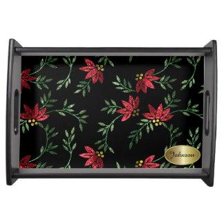 Elegantes rotes BlumenGlitter-Serviertablett Serviertablett