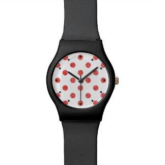 Elegantes rotes Glitter-Polka-Punkt-Muster Armbanduhr