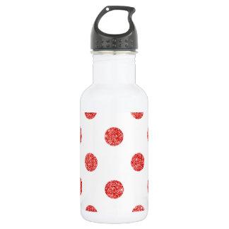 Elegantes rotes Glitter-Polka-Punkt-Muster Edelstahlflasche