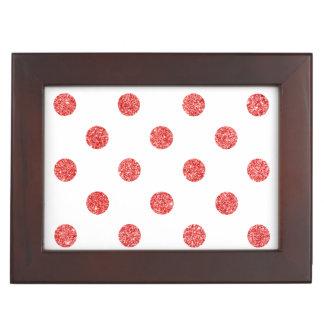 Elegantes rotes Glitter-Polka-Punkt-Muster Erinnerungsdose