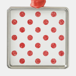 Elegantes rotes Glitter-Polka-Punkt-Muster Silbernes Ornament