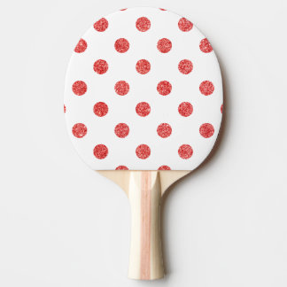 Elegantes rotes Glitter-Polka-Punkt-Muster Tischtennis Schläger