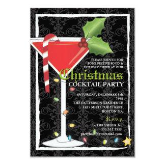 Elegantes rotes Martini-Weihnachtscocktail-Party 8,9 X 12,7 Cm Einladungskarte
