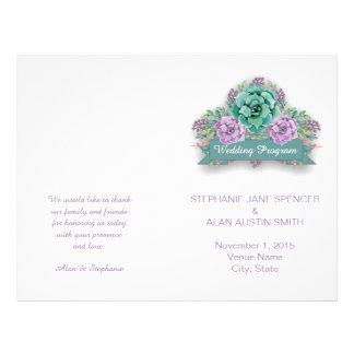 Elegantes saftiges Aquarell-Hochzeits-Programm Flyer