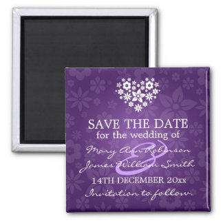 Elegantes Save the Date blumiges Herz lila Magnets